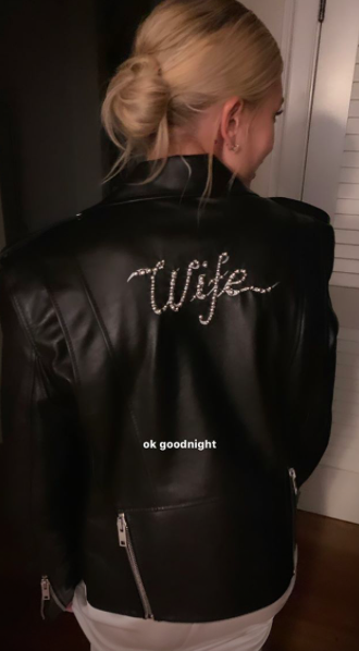 Hailey wearing her leather 'wife' jacket
