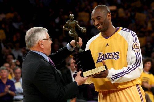 Kobe accepting his MVP award. Via  Bleacher Report