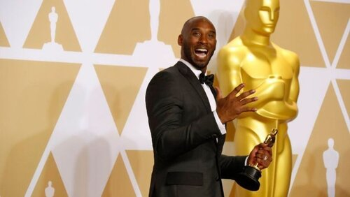"Kobe Bryant in the press room of the Academy Awards after winning an Oscar for his animated short ""Dear Basketball"" on March 4, 2018. via  LA Times"