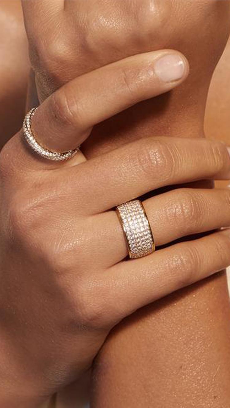Pave Cigar Ring,  $60