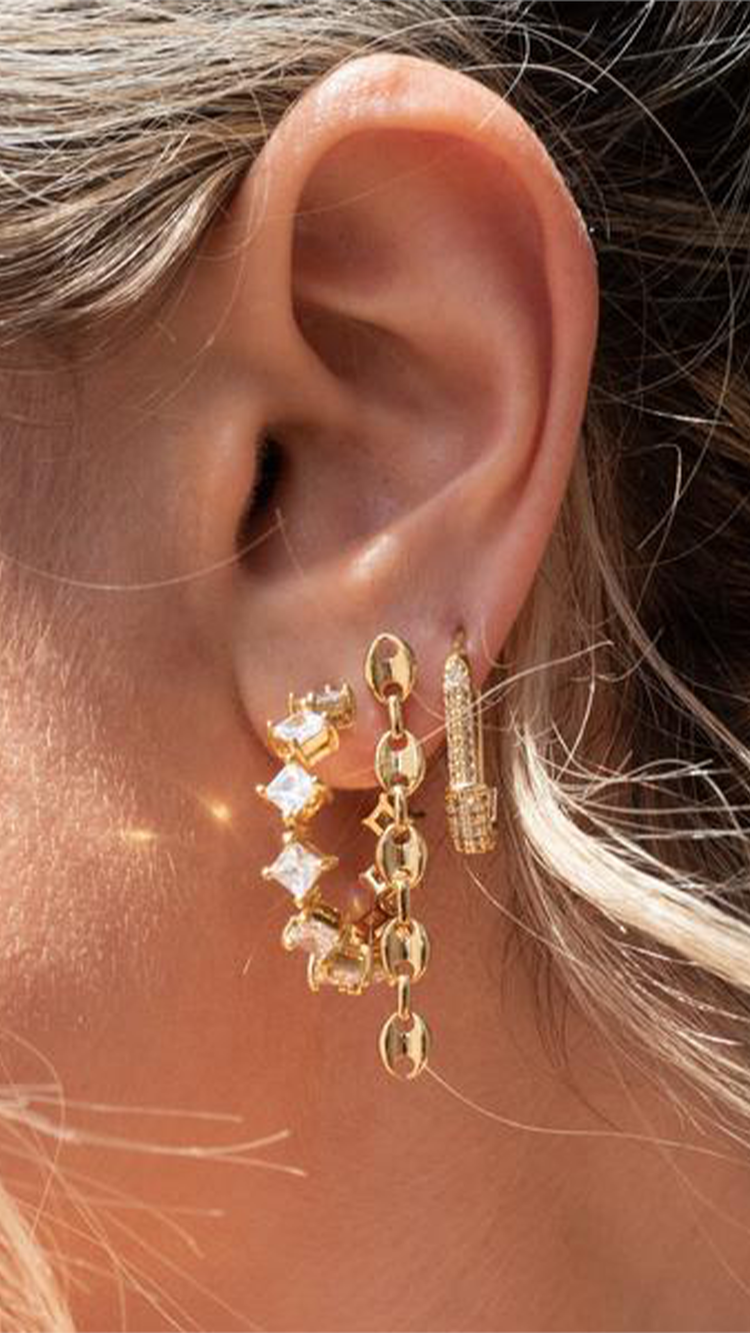 Pave Hex Safety Pin Earrings,  $55