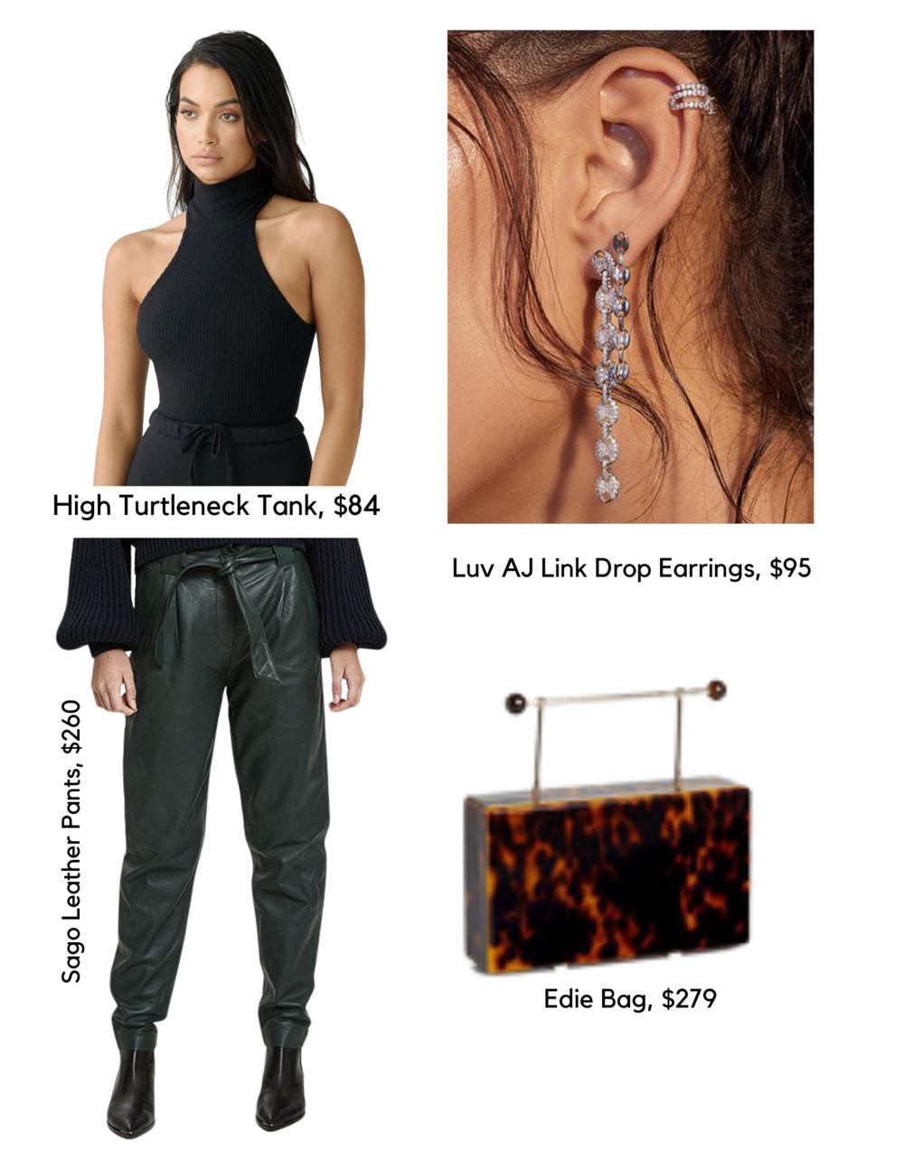 SHOP THE LOOK:   High Turtleneck Tank, $84  /  Luv AJ Link Drop Earrings, $95  /  Sago Leather Pants $260  /  Edie Bag, $279