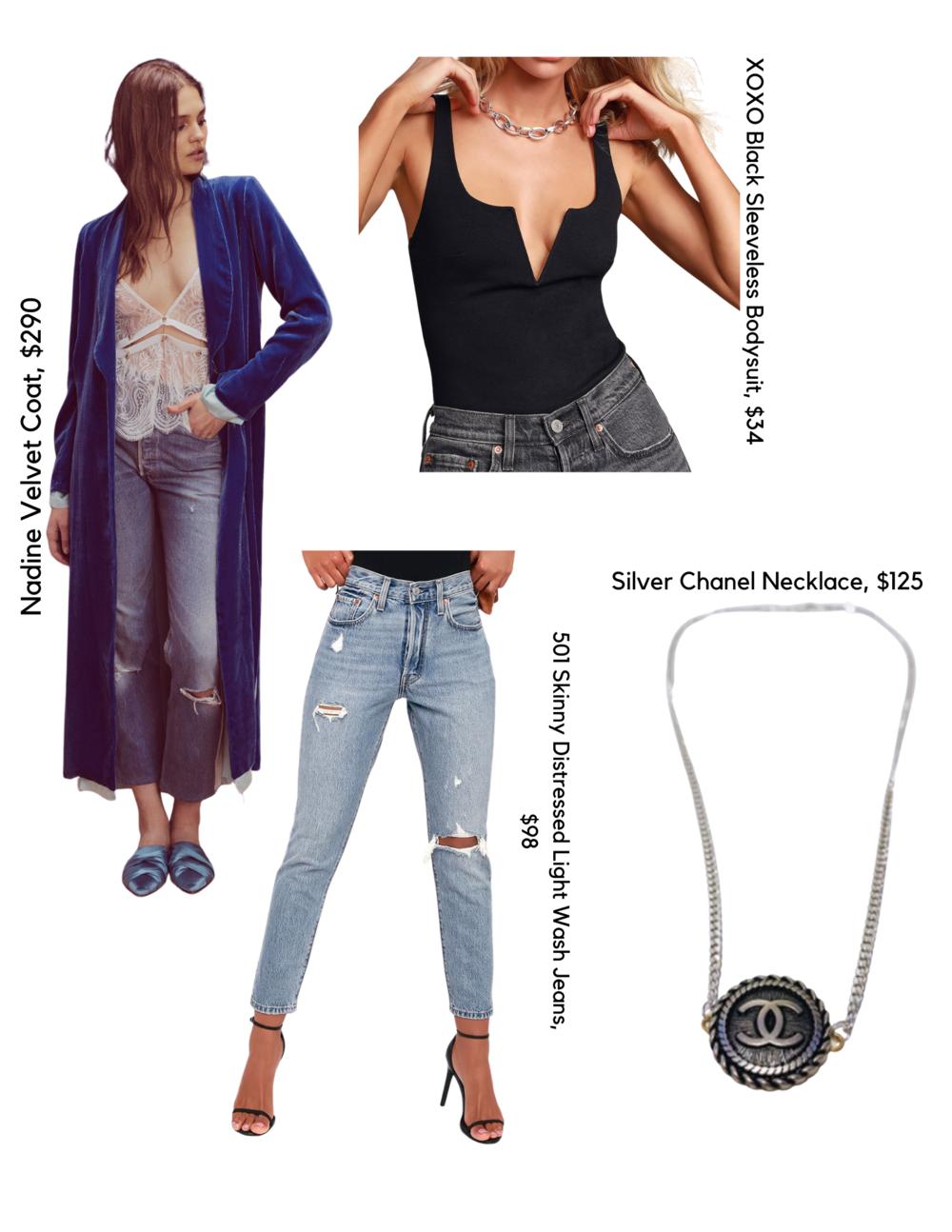 SHOP THE LOOK:   Nadine Velvet Coat, $290  /  Black Bodysuit, $34  /  Jeans, $98  /  Chanel Necklace, $125