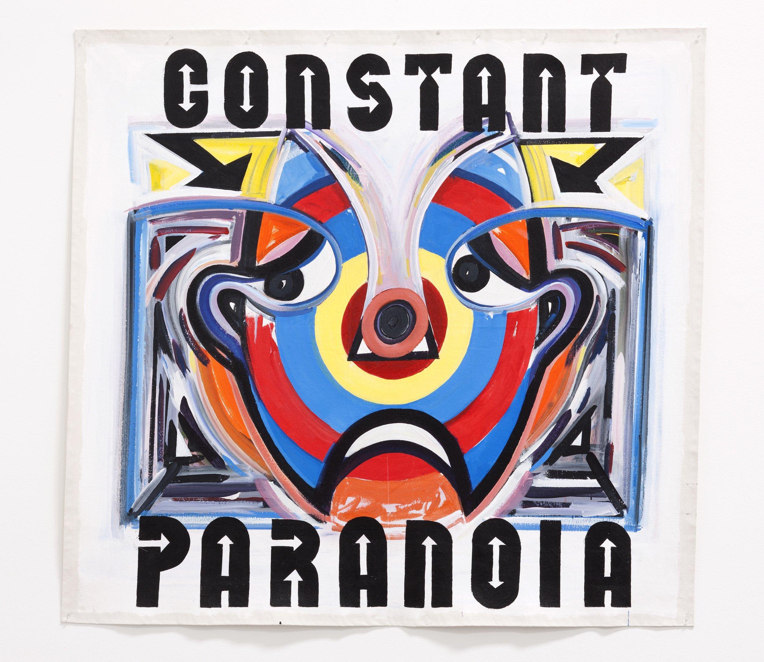 "Constant Paranoia,  2011  Acrylic on canvas                                                                                     60"" X 60"""