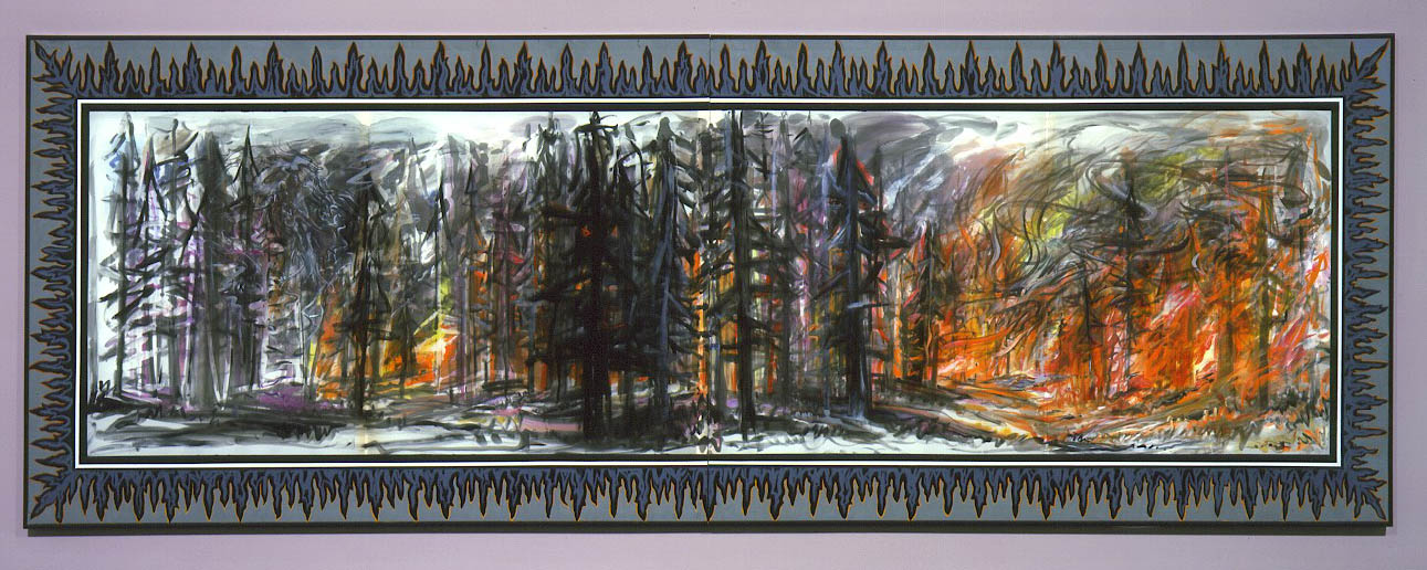 "Big Dragon Fire , 2004  Silk dye, acrylic, metallic textile paint   61"" x 168"""