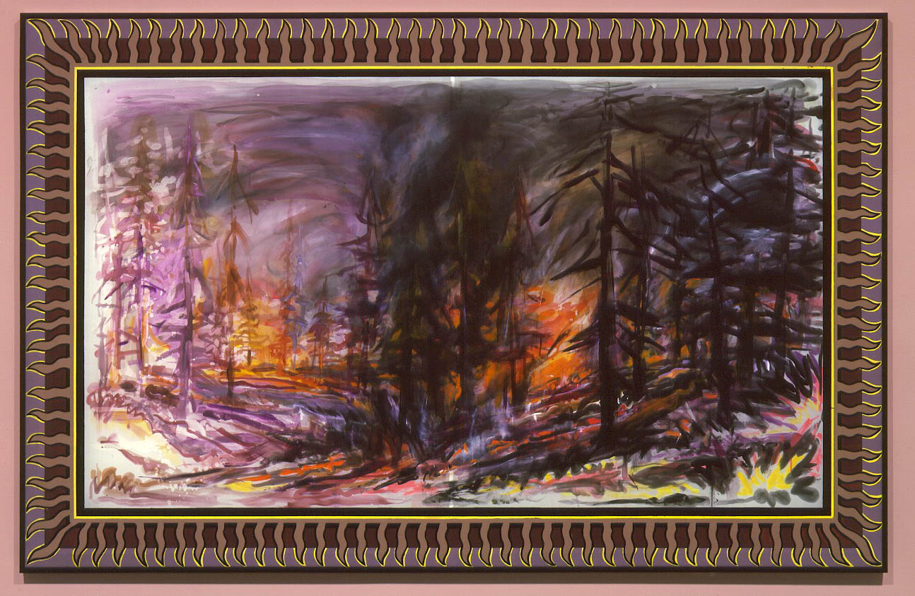 "Black Smoke  Fire , 2004  Silk dye, acrylic, metallic textile paint   55"" x 86"""