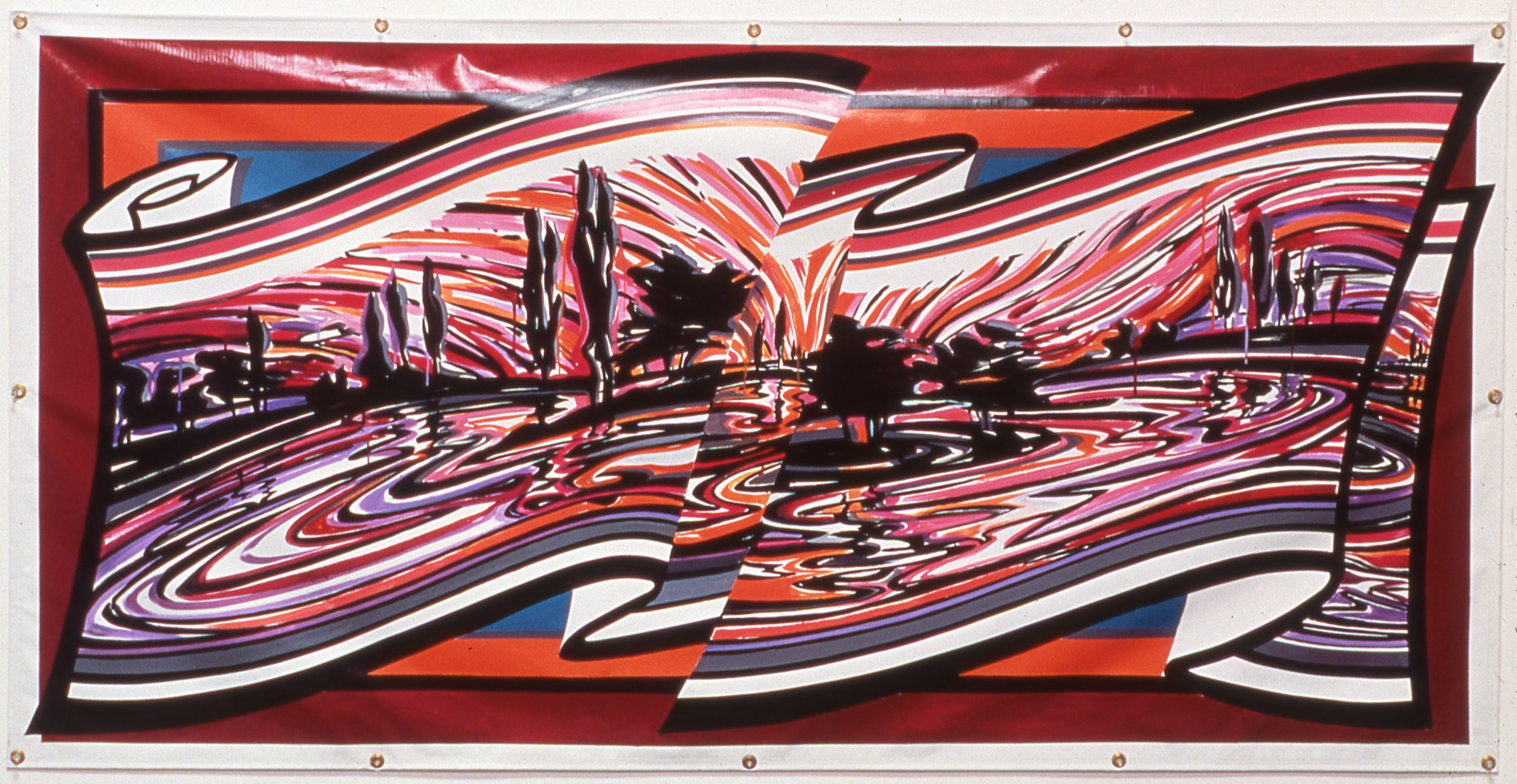 "River at Sunset,   2001     Enamel on vinyl commercial banner   42"" x 84"""