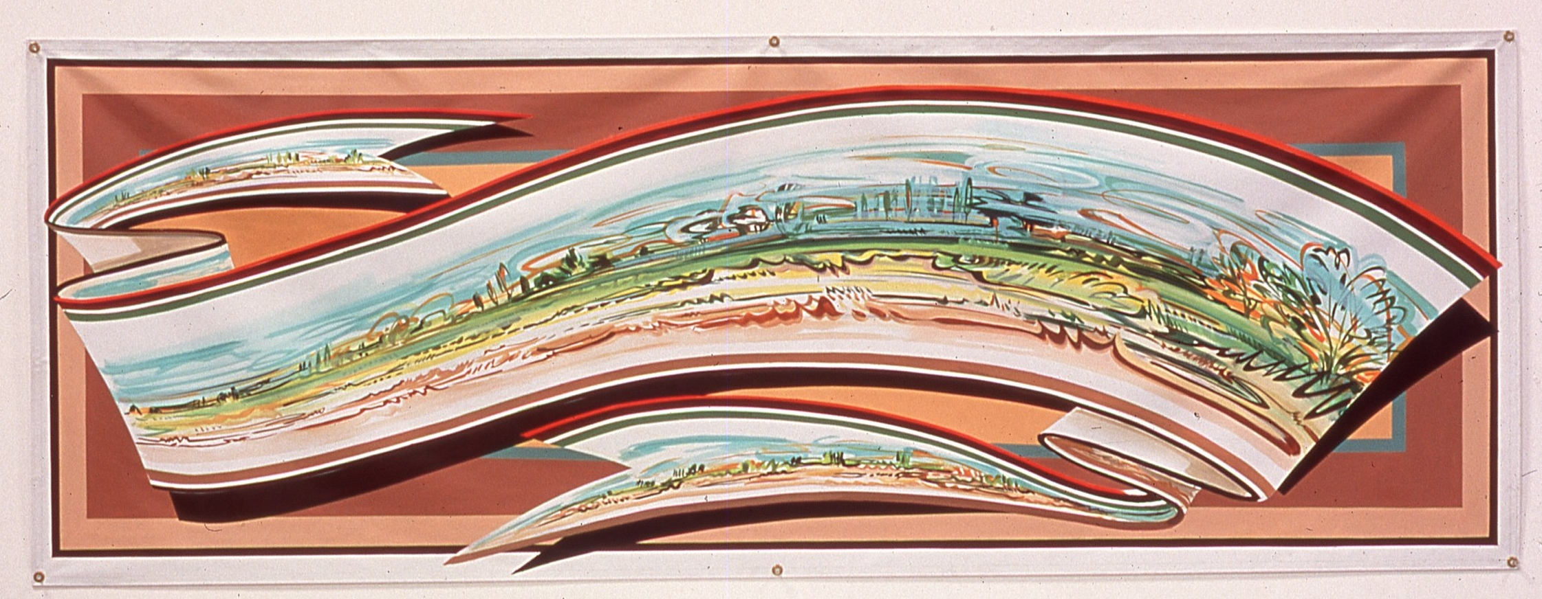 "Open Fields,   2001     Enamel on vinyl commercial banner   40"" x 110 1/2"""