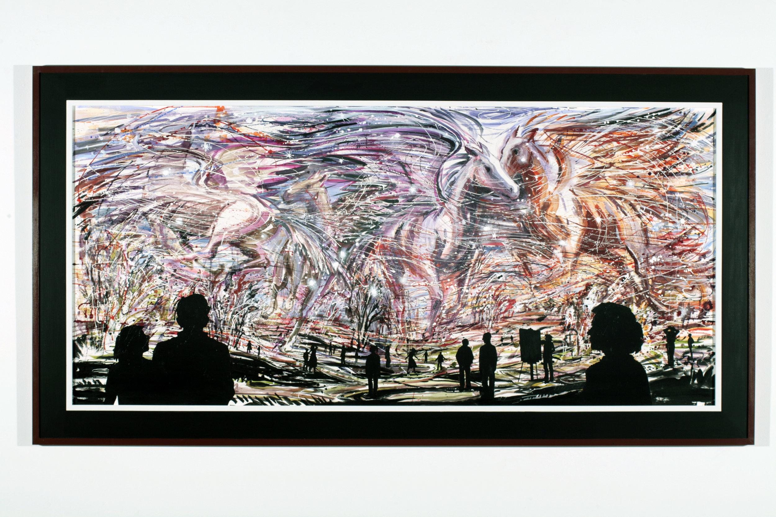 "Horsepower #2,  2006  Acrylic on Tycore, framed  58"" x 107"""