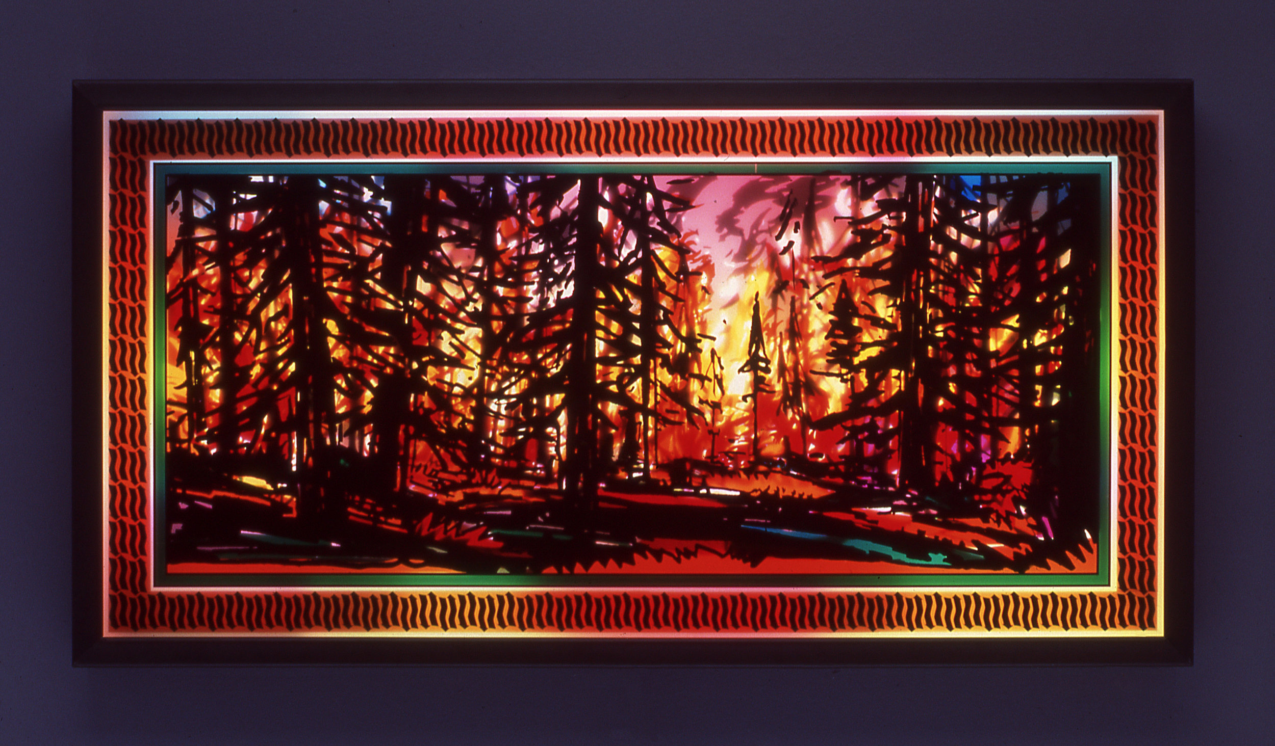 "Fire Box # 3, 2003  Transparent vinyl on plexi-glass, metal framed light-box  26"" x 50"" x 3 3/4"""