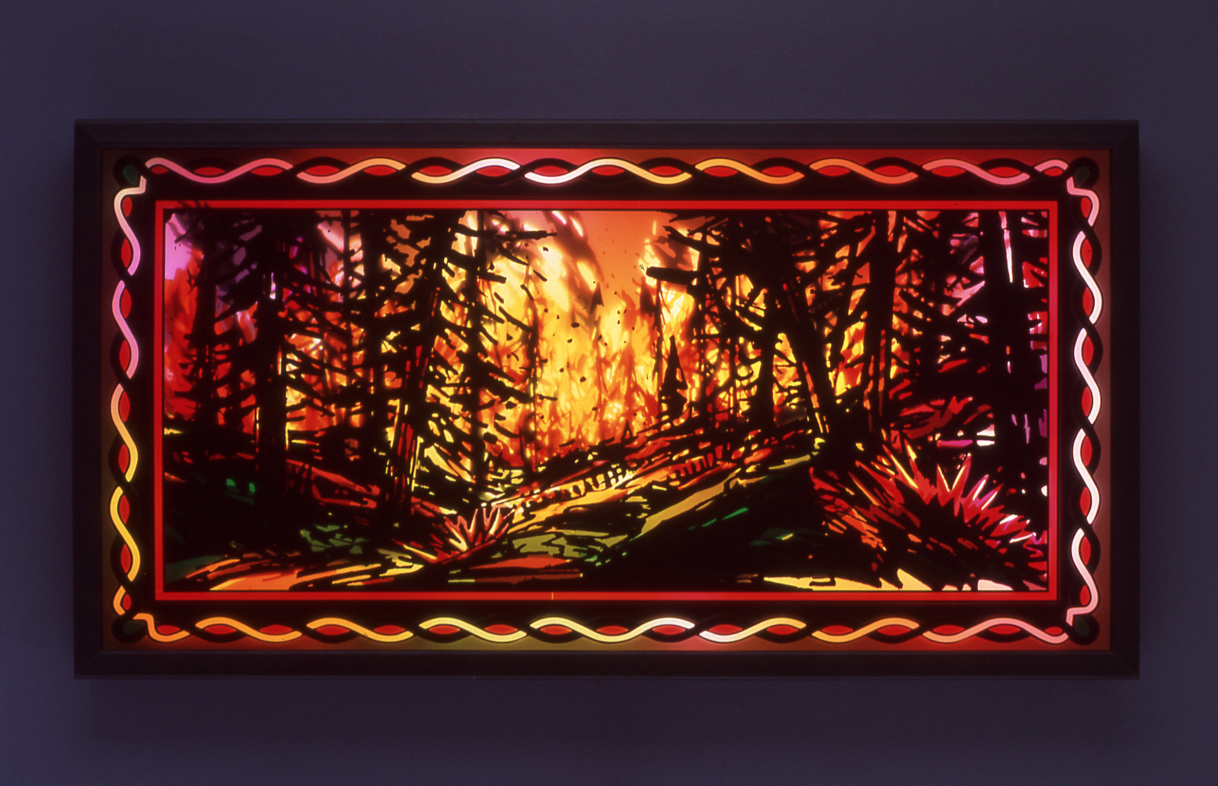 "Fire Box # 1, 2003  Transparent vinyl on plexi-glass, metal framed light-box  26"" x 50"" x 3 3/4"""