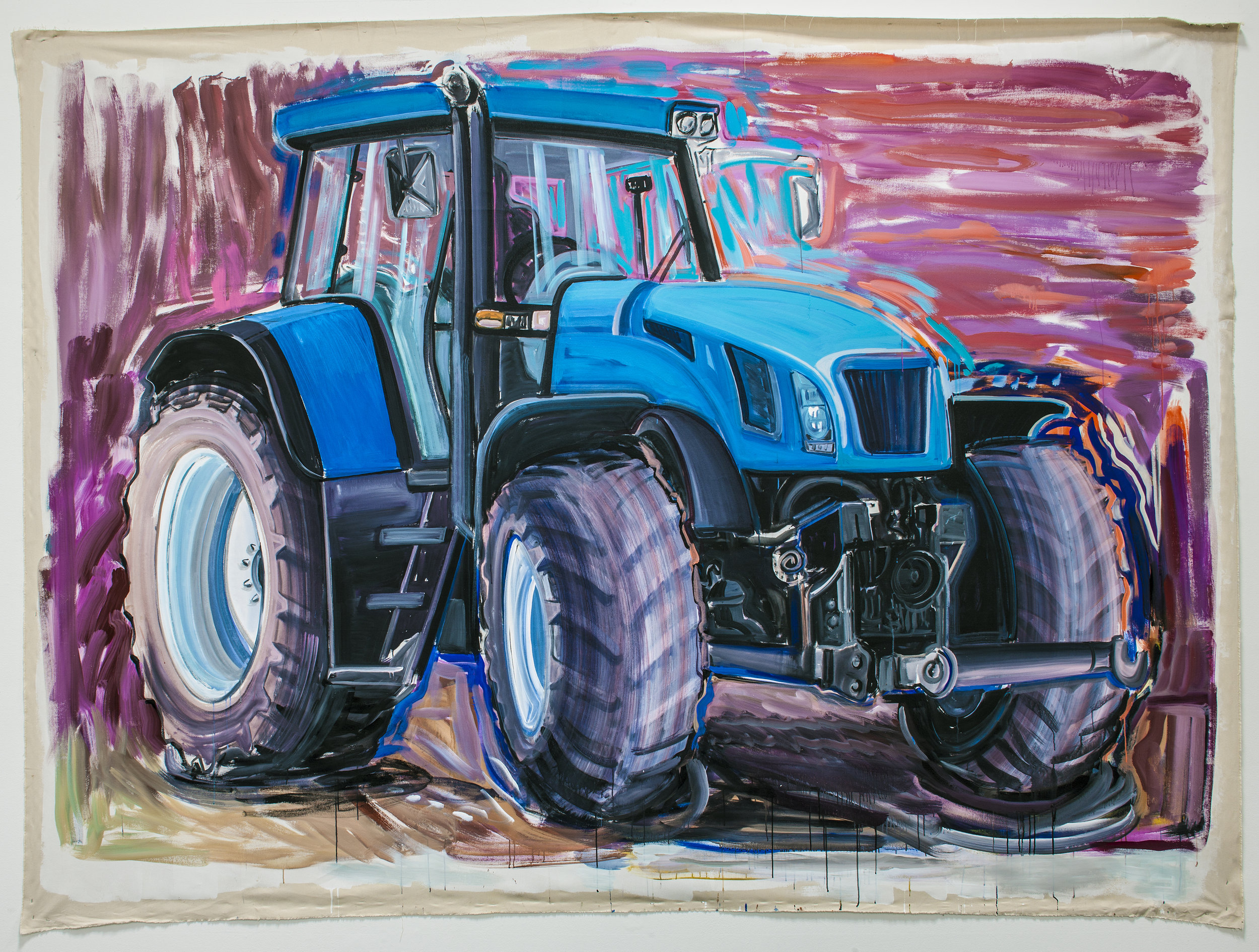 "Big Friend (New Holland Tractor),   2013  Acrylic on  unstretched canvas  113"" x 144"" inches   Photo credit: Grant Mudford"