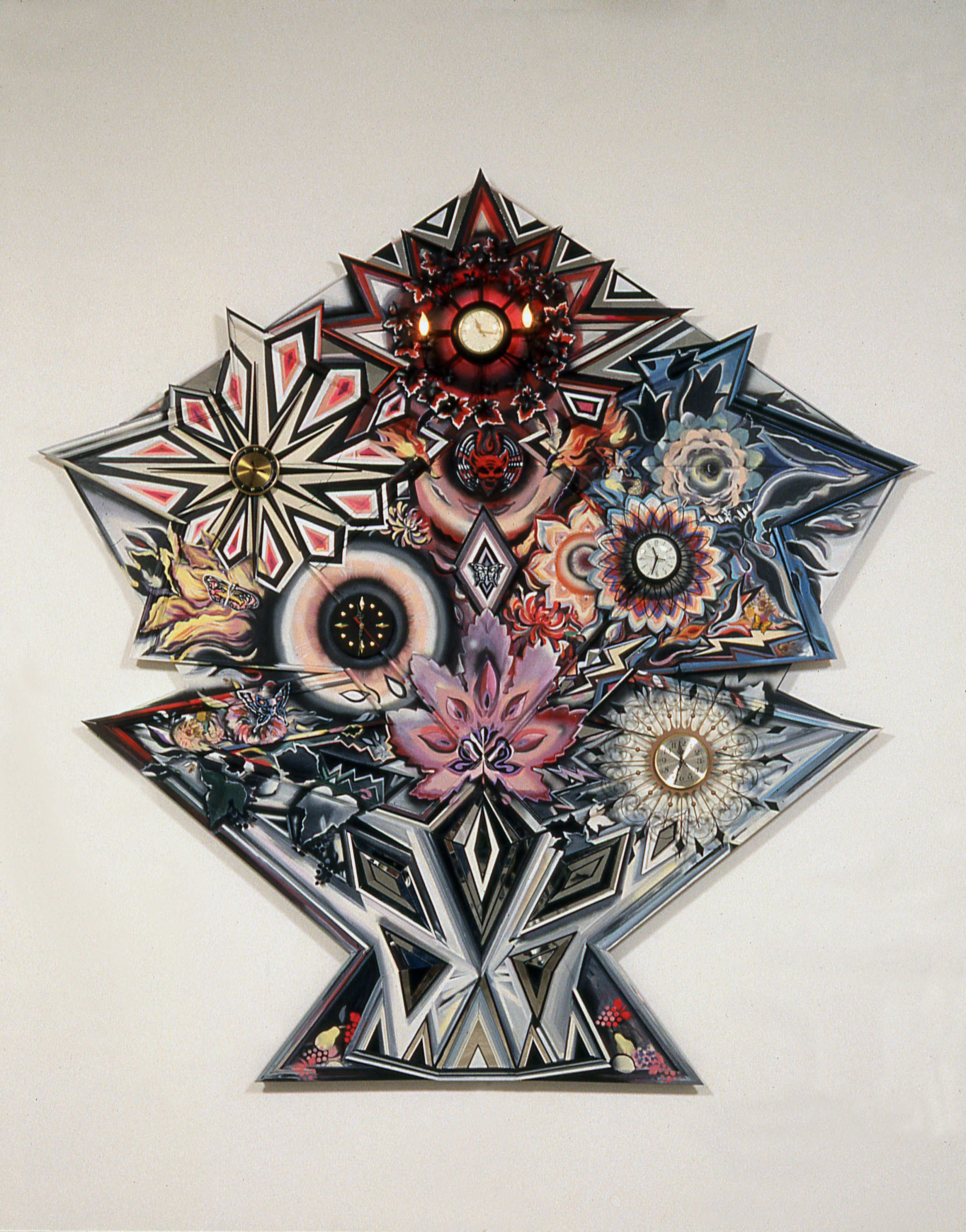 """Flowers of Fate,  1990-91  Acrylic, wood molding, plexiglass, mirror, found clocks and electric lights on wood panel  116"""" x 114 1/2"""" x 7"""""""