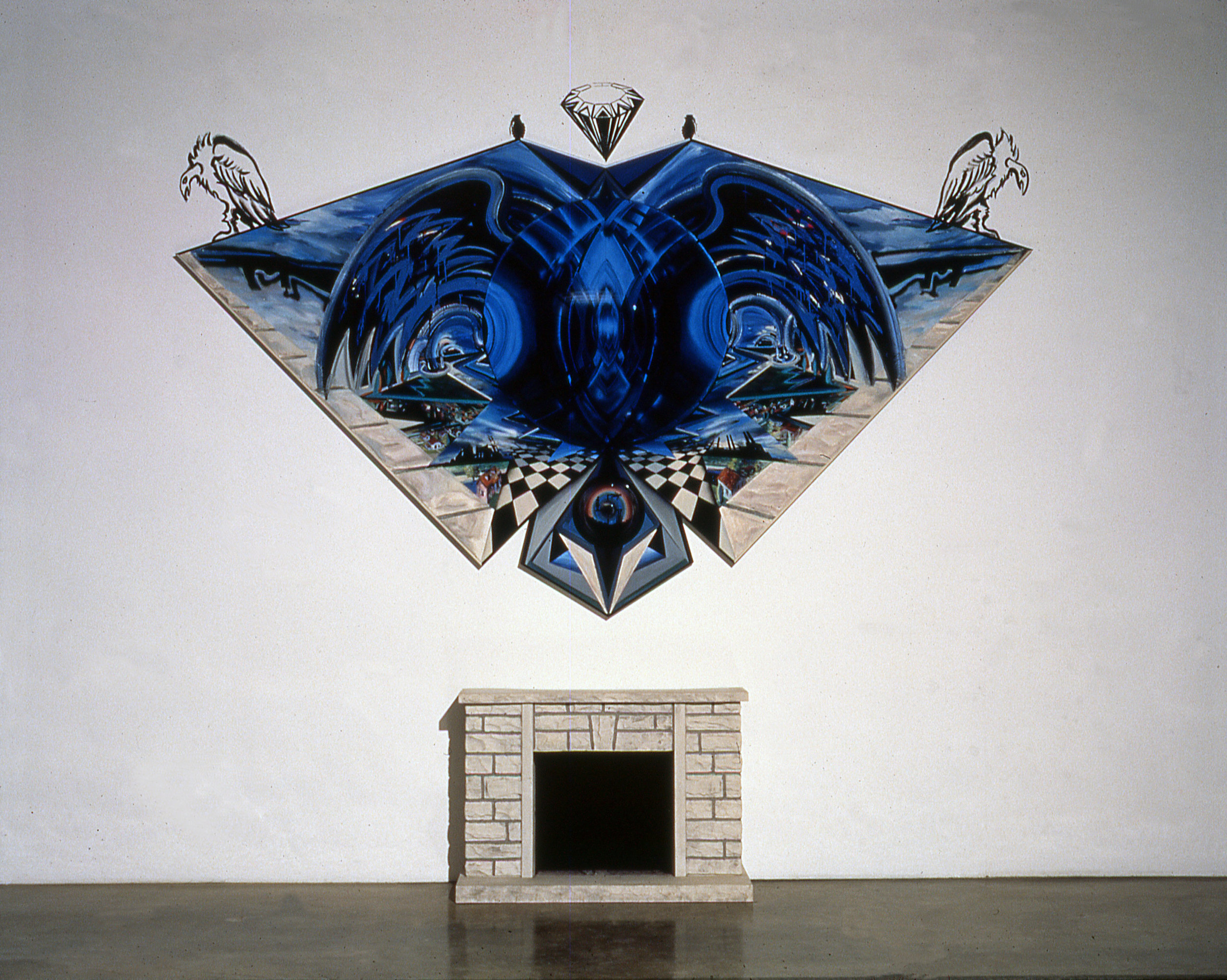 """Hearth, Heart, Earth,Art , 1990-91  Bas relief, acrylic, wood molding , plexiglass, and found faux fireplace on wood panel  151"""" x 162"""" x 12"""""""