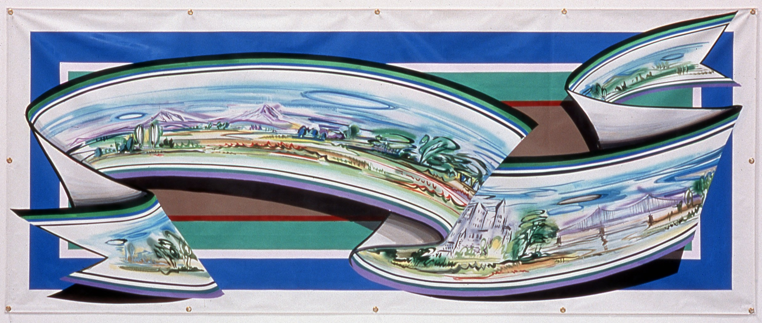 "Town and Country,   2001     Enamel on vinyl commercial banner   46"" x 113 3/4"""