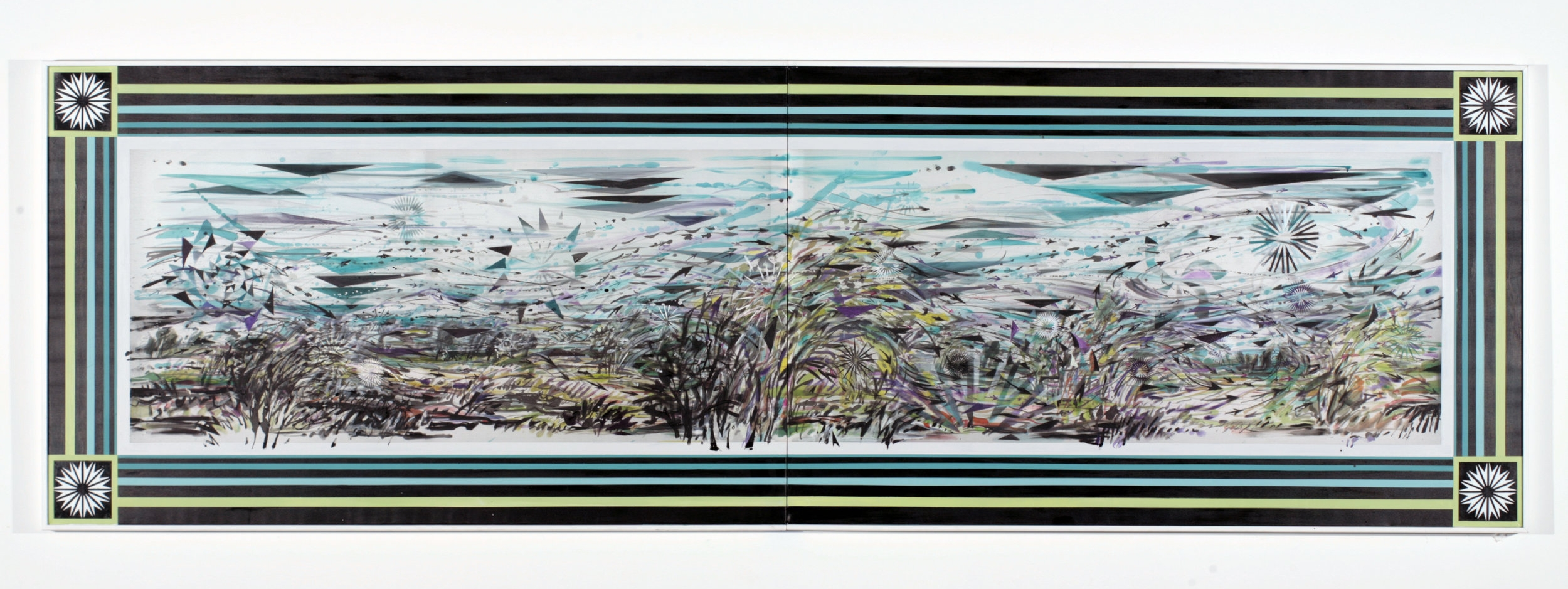 "Currents ,  2005  Ink, silk dye and acrylic on silk  40"" x 127 1/4"" two panels"