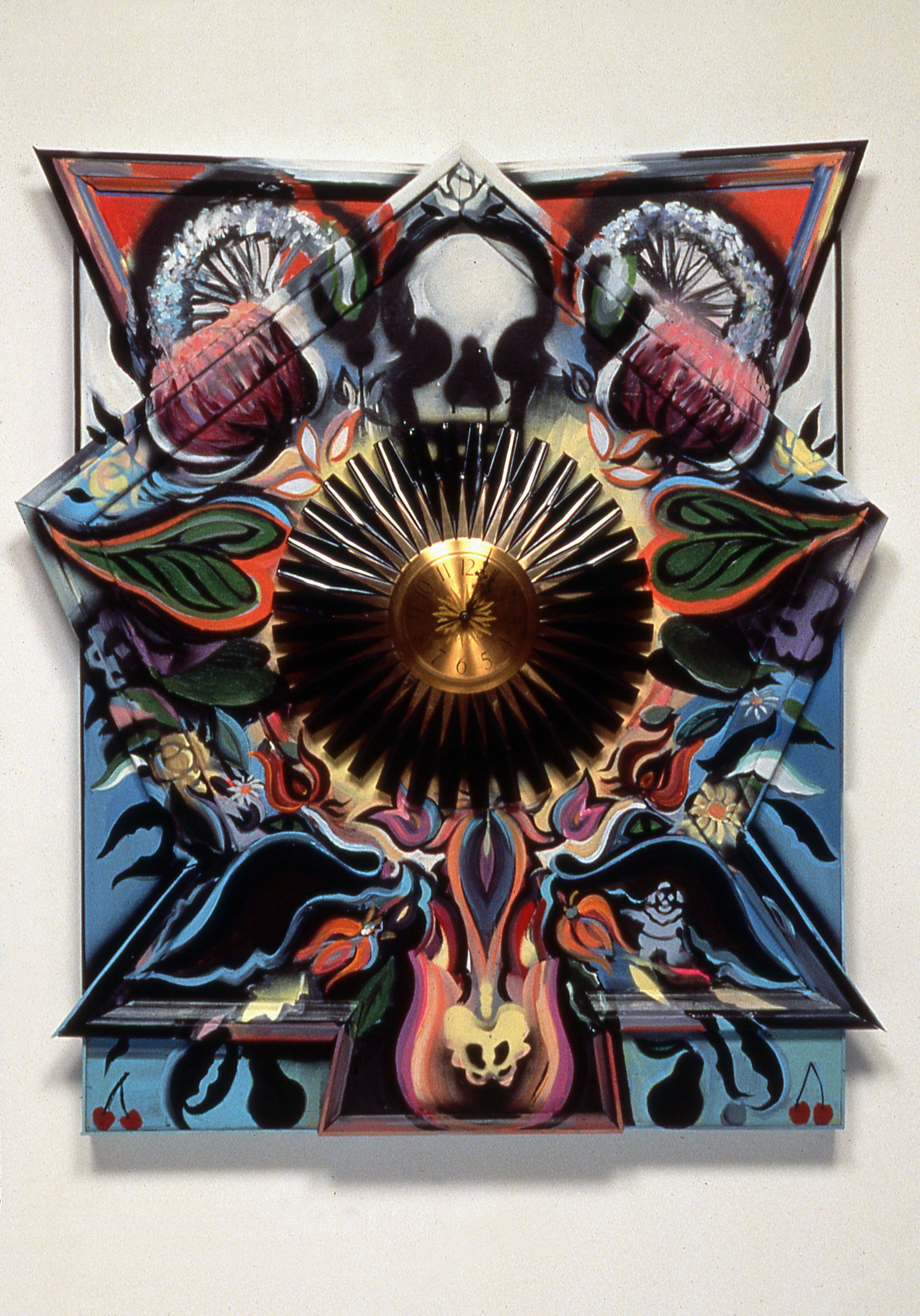 """The Deadly Arrangement I , 1990-91  Bas relief, acrylic, wood molding , plexiglass, and found clock on wood panel  42 1/2"""" x 36 1/2"""" x 7 3/8"""""""