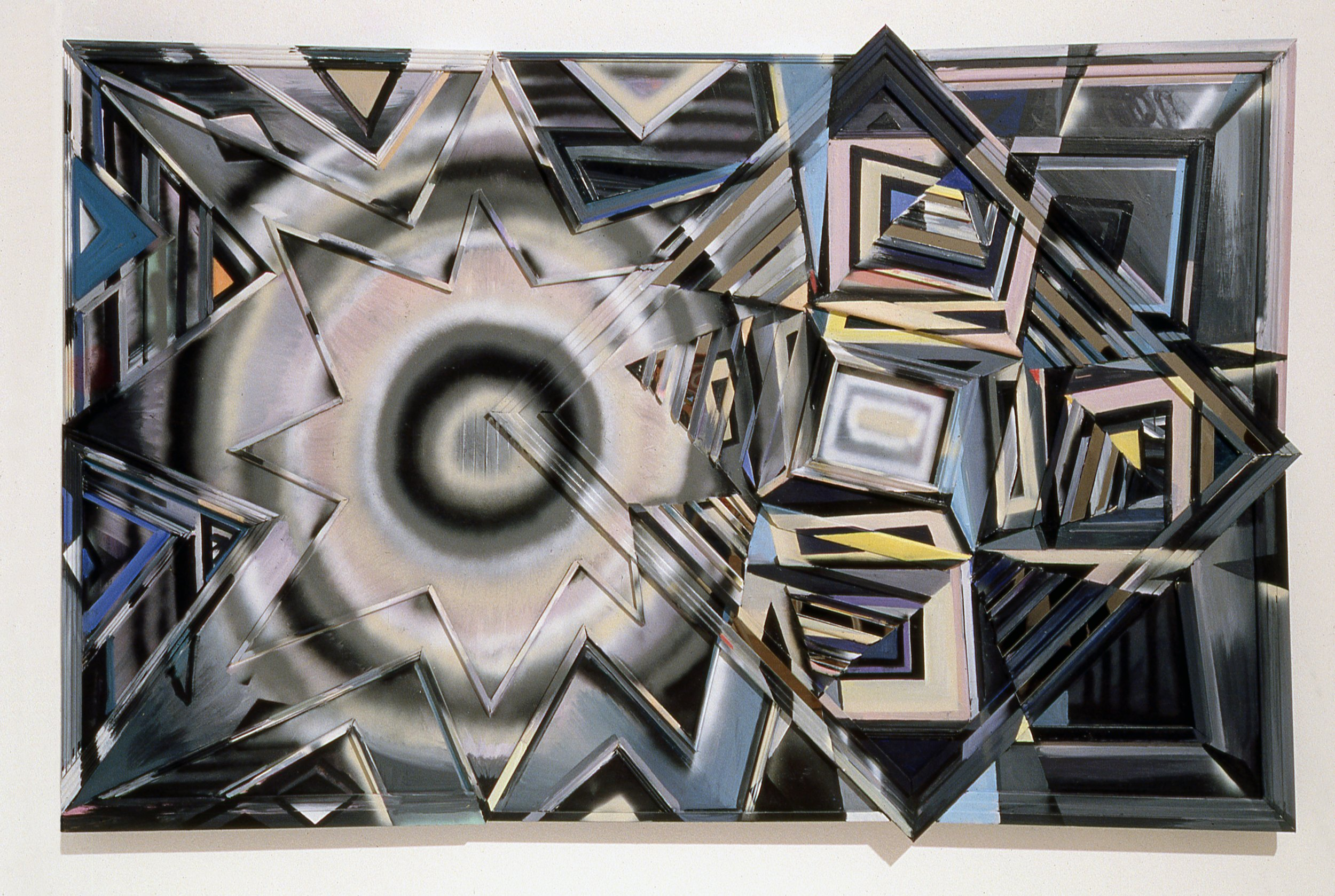 "Heavenly Shades of Night Are Falling,   1989  Acrylic, plexiglass, mirror on wood bas relief panel  64 1/4"" x 98"""