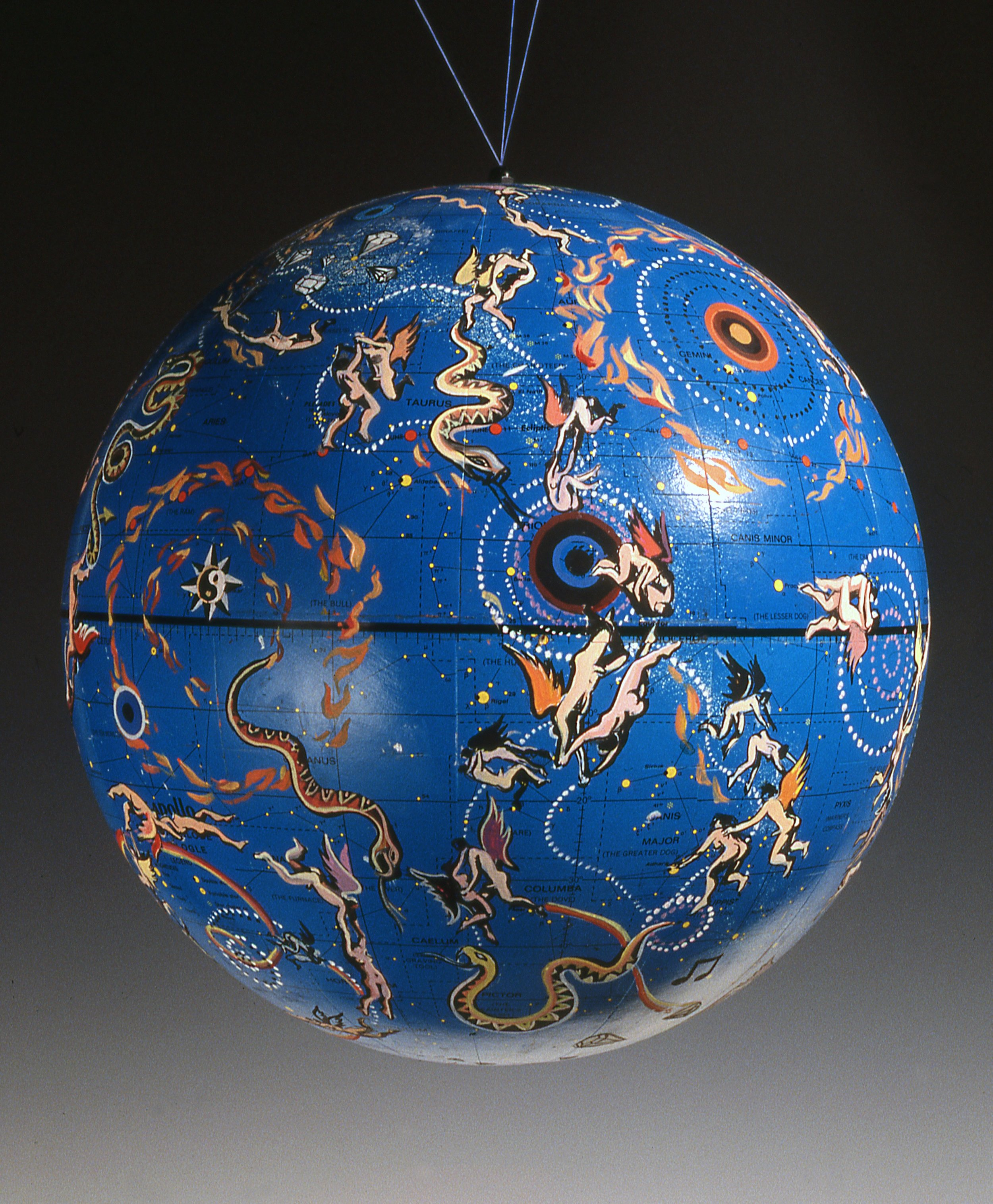 "Constellations , 1992    Cel vinyl, gold leaf on found paper globe  12"" diamete"