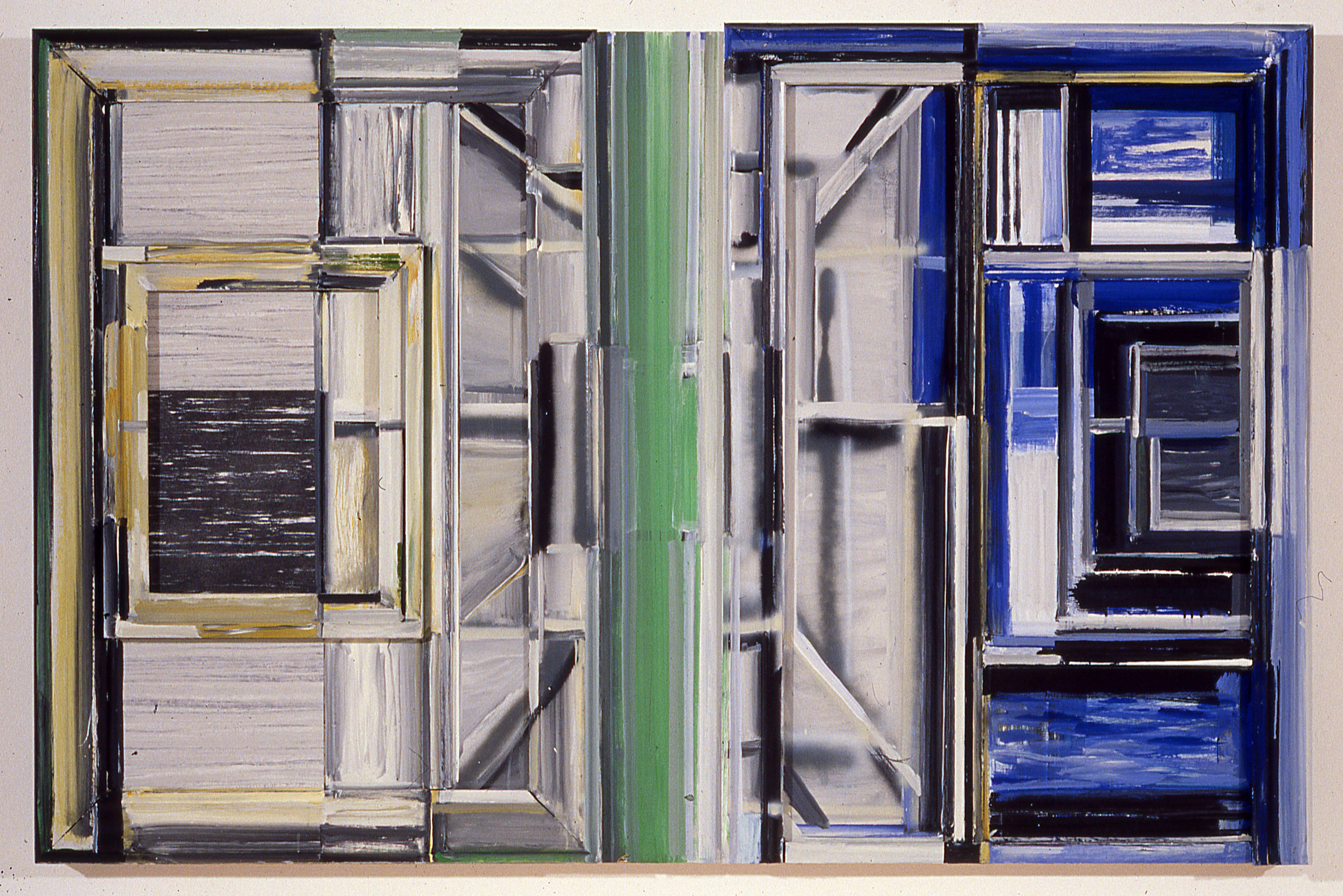 "Doors and Floors,   1987  Acrylic on wood bas relief  48 1/2"" x 74 1/4"""