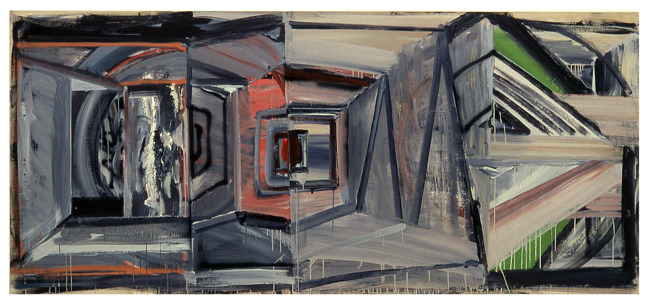 "Deep and Shallow ,   1985  Acrylic on canvas  48"" x 108"""