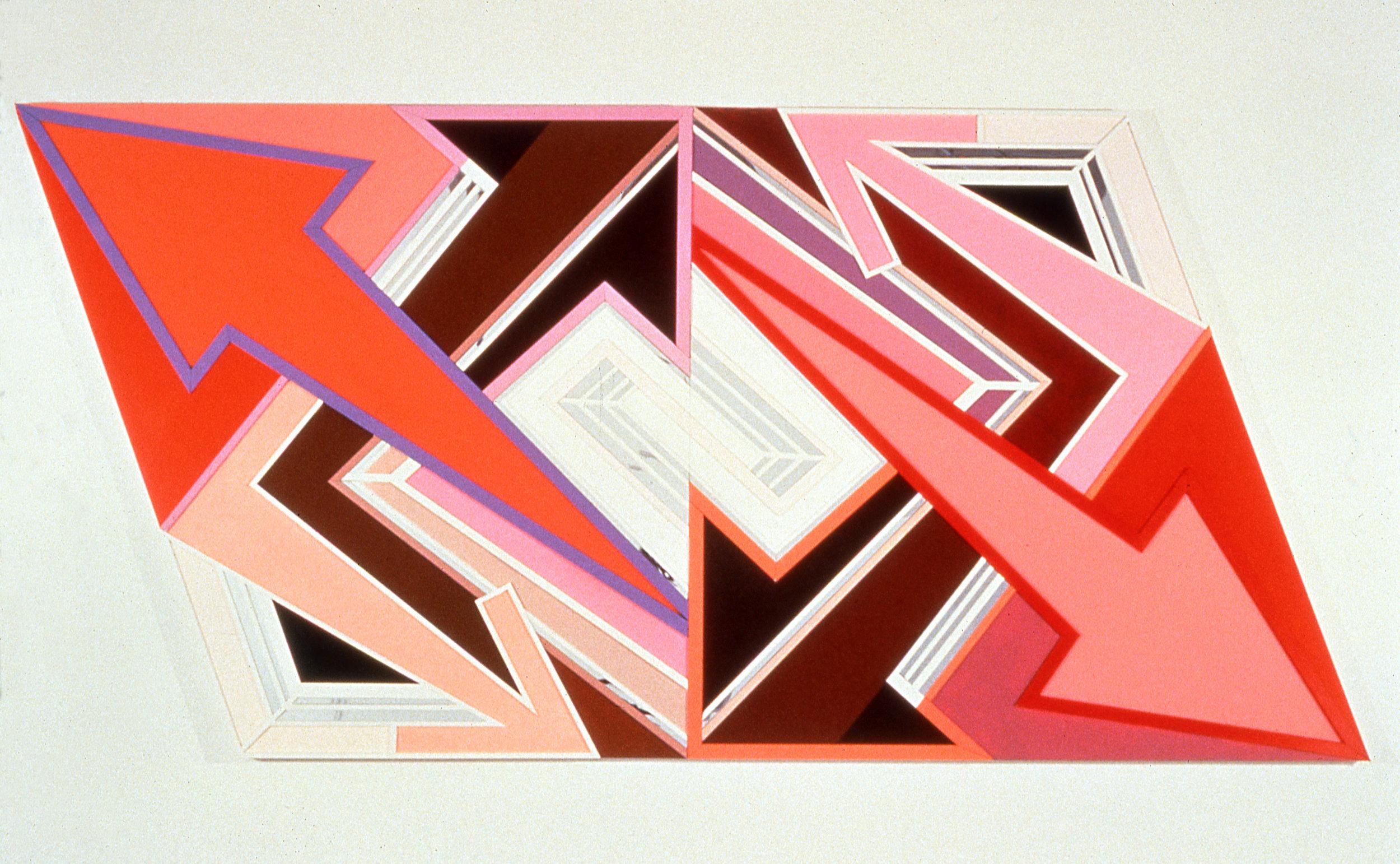 """Mind Weeds,  1997  Acrylic, mirror, plexiglass on bas relief wood  57"""" x 112"""""""