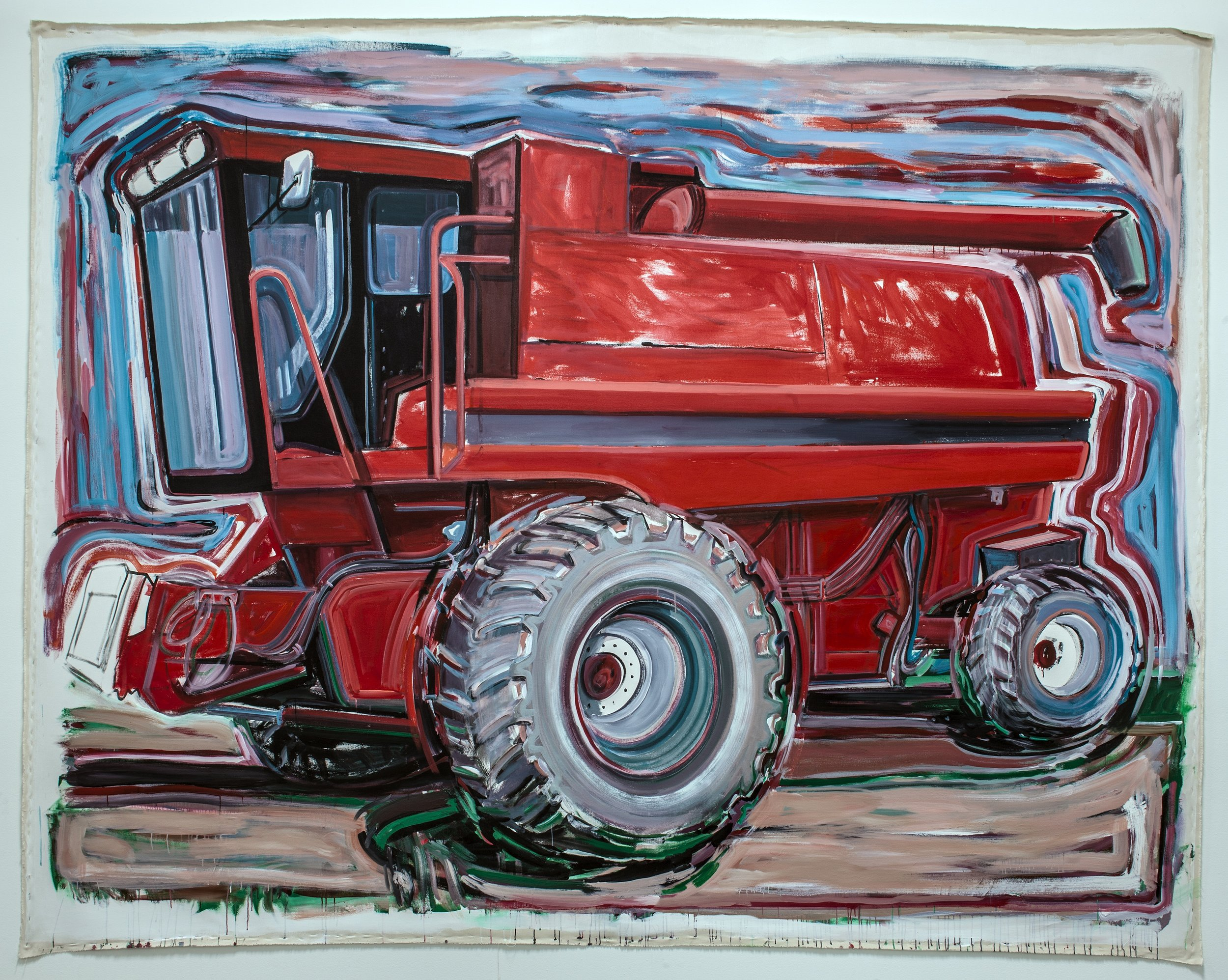 "Big Job (Case International Combine),   2013  Acrylic on  unstretched canvas  152"" x 144"" inches   Photo credit: Grant Mudford"