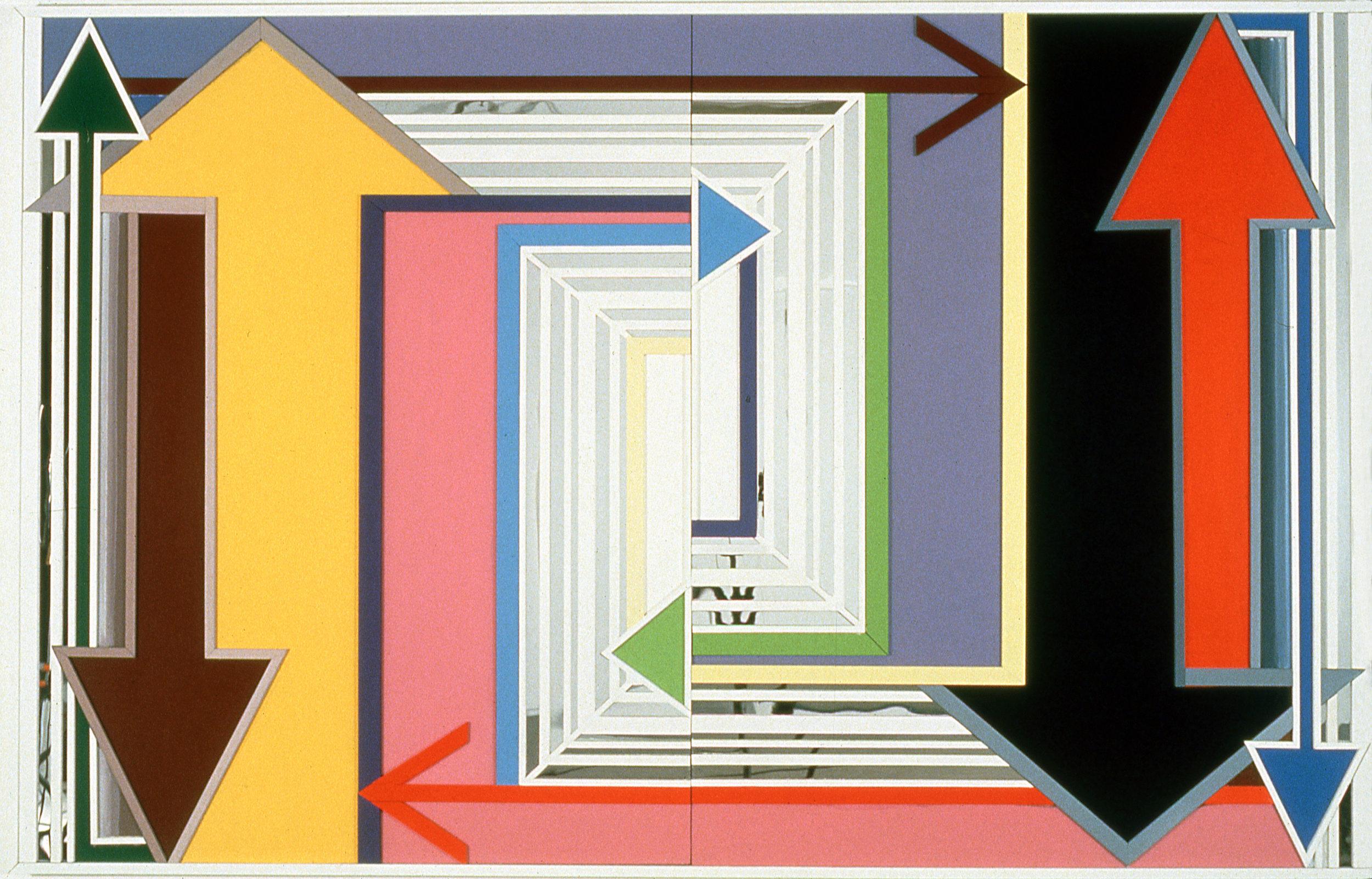 "Actual Practice,  1997  Acrylic, mirror, plexiglass on bas relief wood  60"" x 96"""