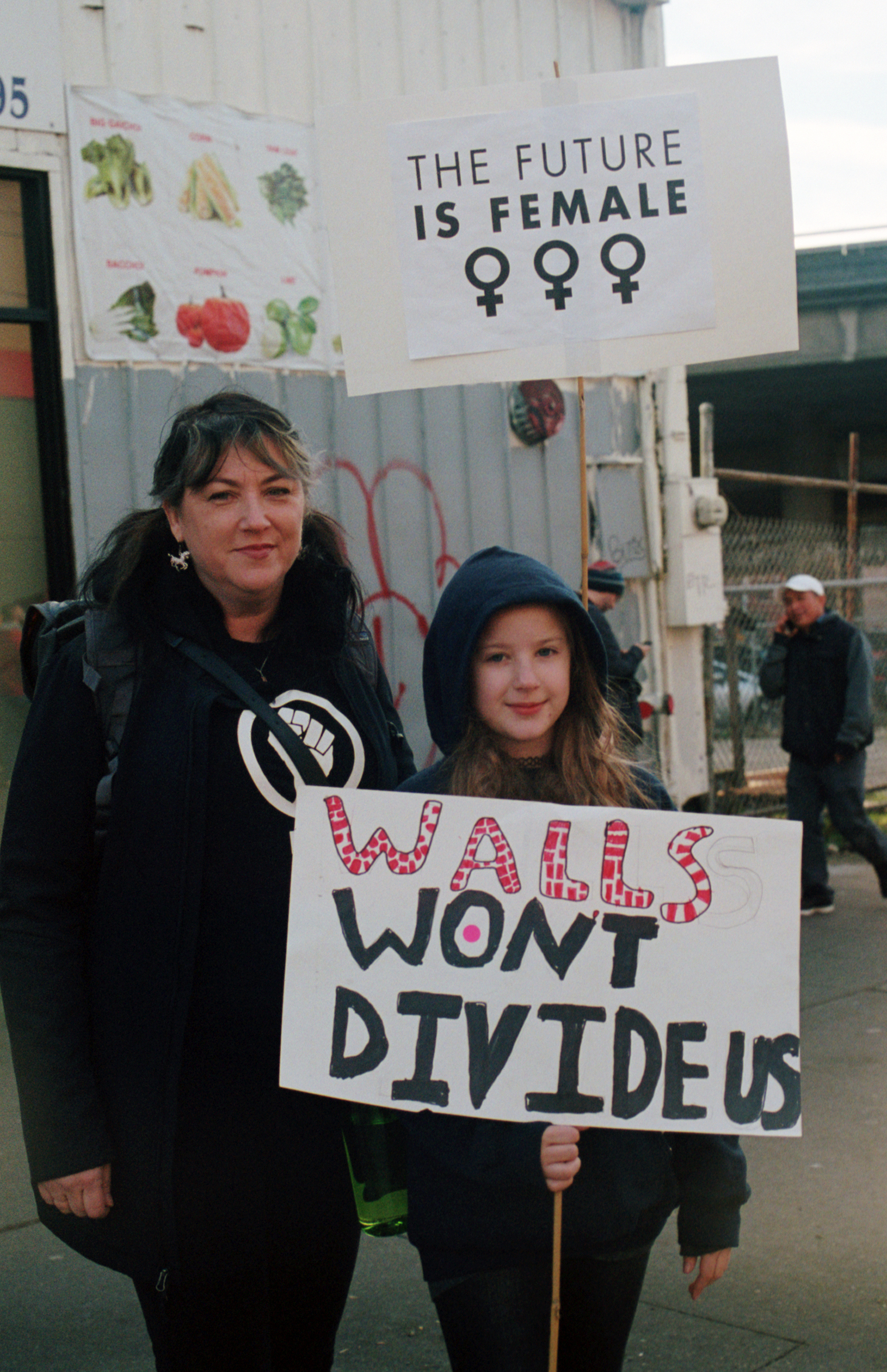 Mother and daughter at Women's March in Seattle - 1/21/17
