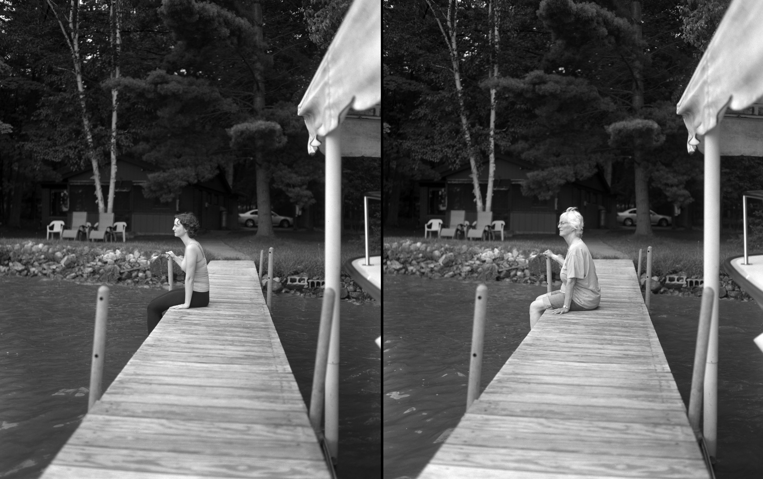 Mom and me on the dock, August 2014