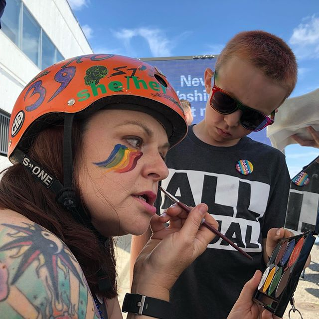 Putting' on the war paint... 🏳️‍🌈 . . . . #dydd #rollerderby #rollerderbygirls #pride