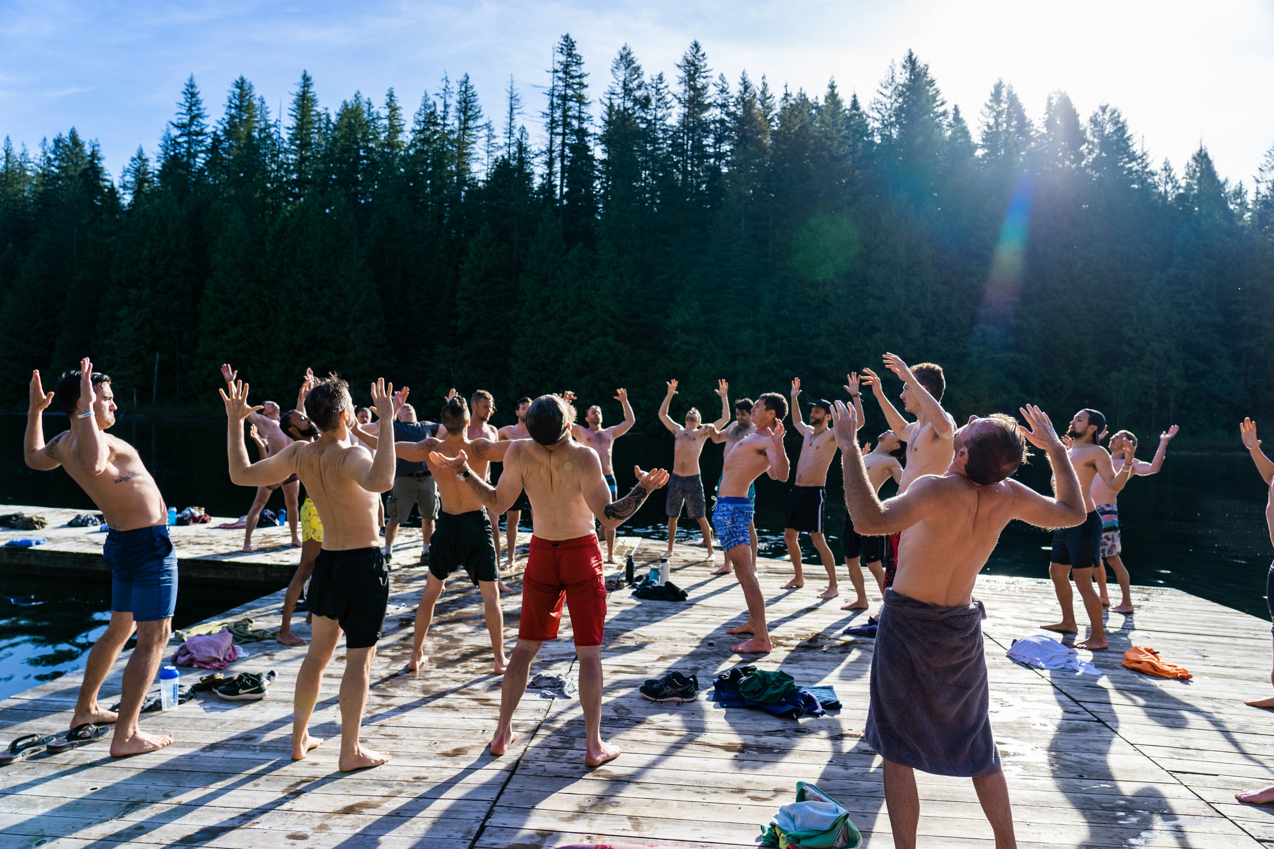 Cian and I led the men in a various types of warming breath at the Samurai Brotherhood retreat.