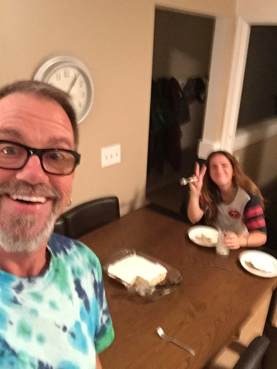 I need to work on my selfie skills! My daughter Lauren in the background eating some of my birthday cake.