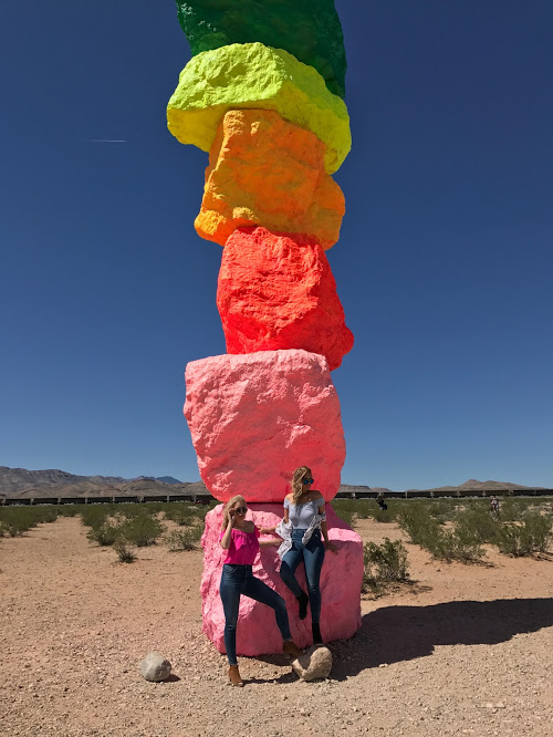 Seven Magic Mountains:  Desert vibes meet pops of color with this art installation of 7 bright boulder stacks located about 20 minutes off the strip.