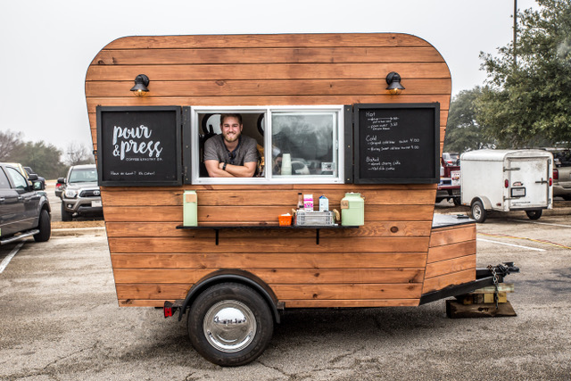 Kyle Buttram & Steve Flores |    @pourandpress    A traveling cafe serving up handcrafted coffee & pastries in the Greater Austin area. Our vision is to provide support and opportunities to kids transitioning out of the foster care system, via employment, mentorship, and other life skills.