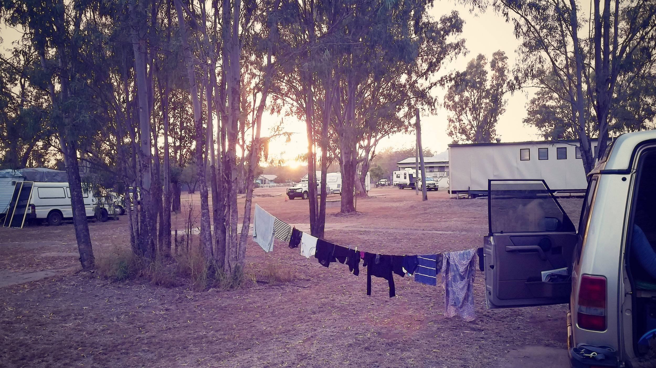 Impromptu laundry line while camping out the back of Duaringa Pub.
