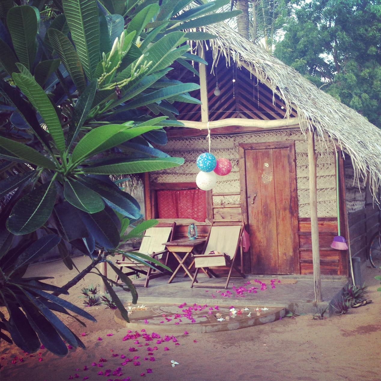 Cabana decked out for my birthday by the lovely people of The Folly Arugam Bay