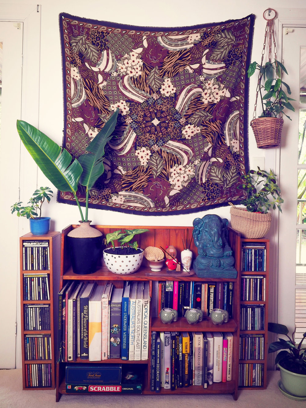 eclectic home styling - books and travel souvenirs