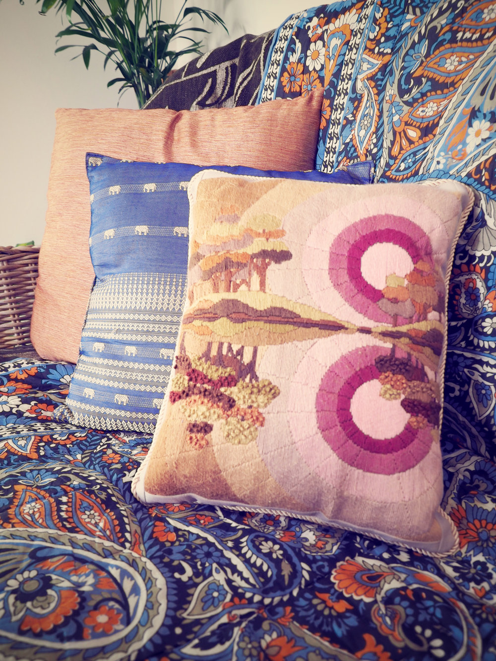 vintage cushion covers and textiles