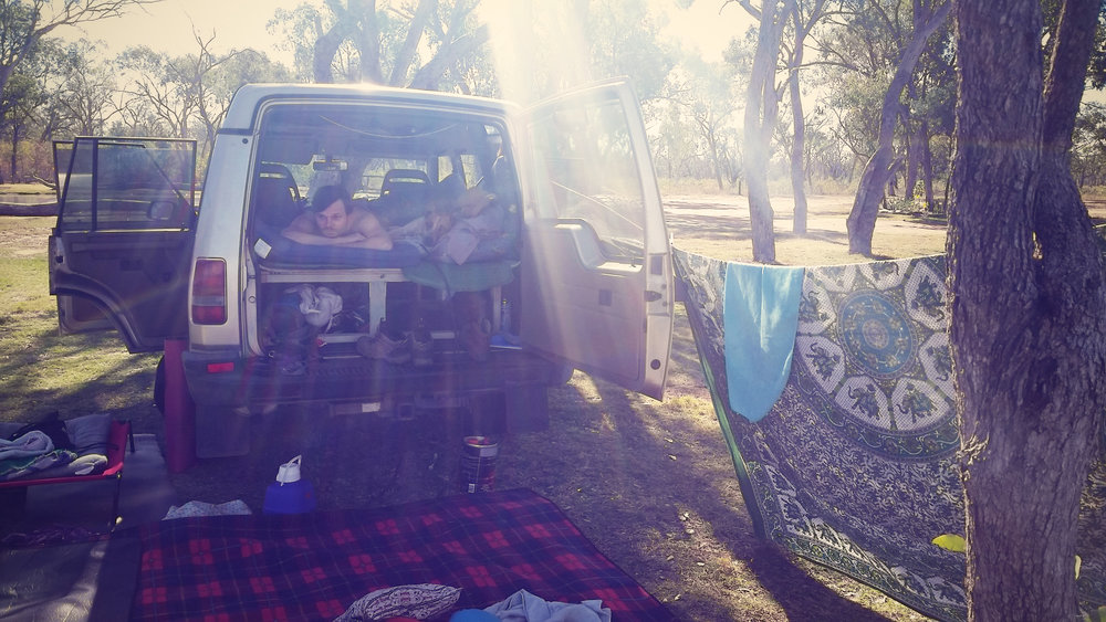 Definitely not glamping- car camping in our self converted 98 Land Rover Disco AKA Dusty.