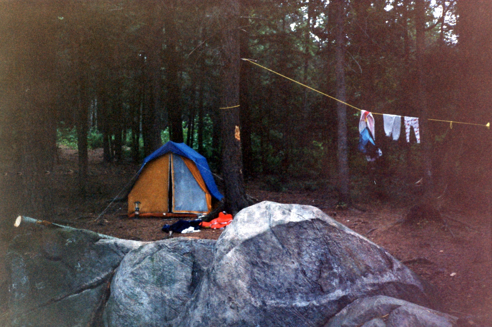 The 4-man canvas barn tent set up on the island campsite