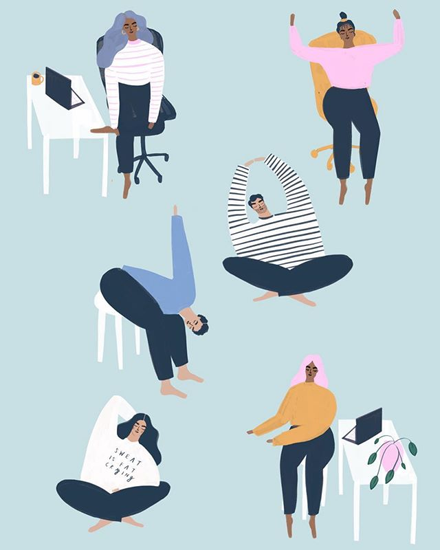 A recent article commission I worked on showing yoga positions you can do at your desk 🧘♀️✨