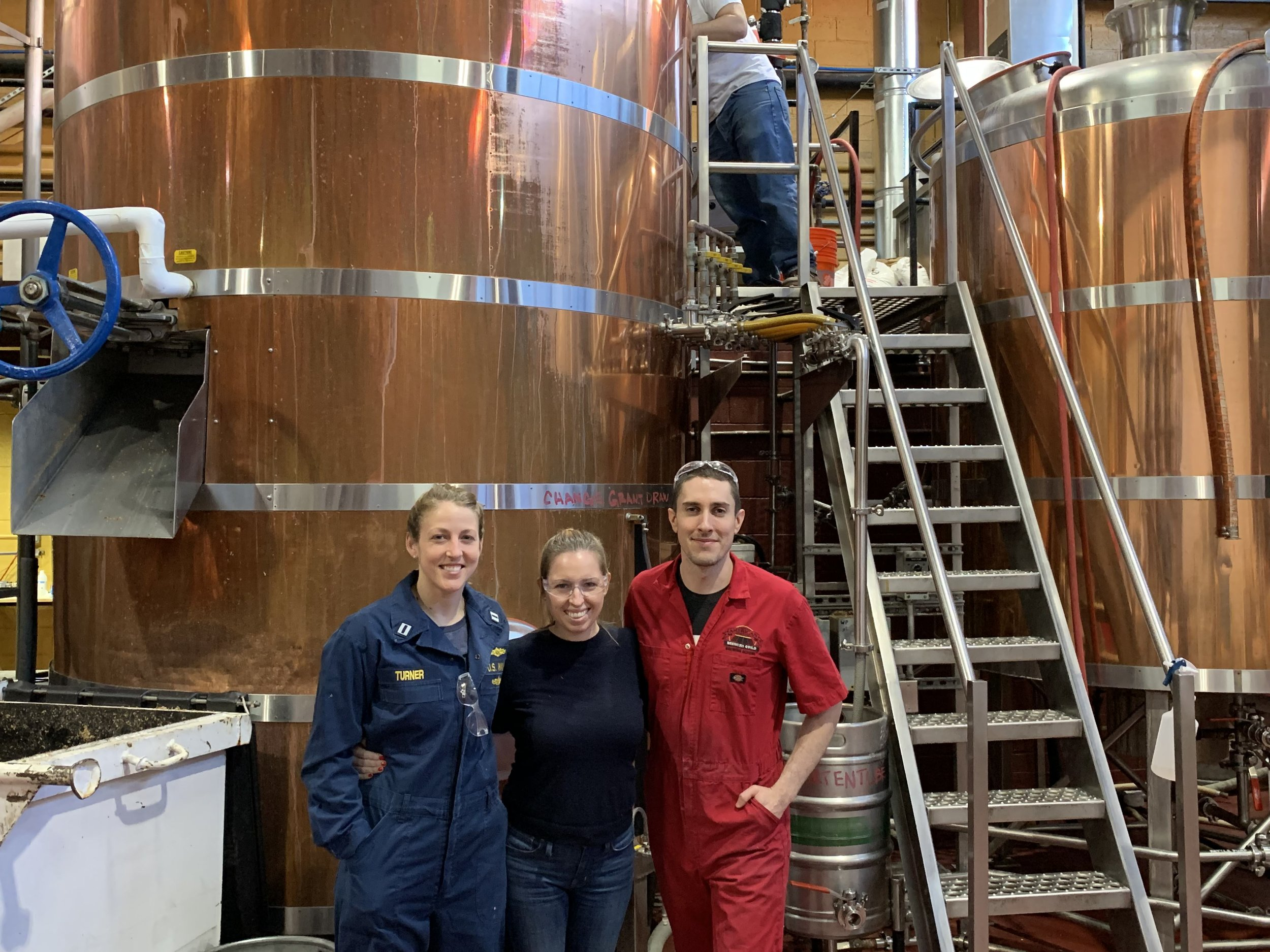 LeAnn, Tara, and Johnny (Head Brewer) on our first Brew Day!