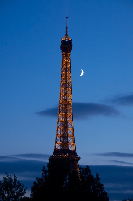 """""""A cruise along the Seine at night with the moon just at the right spot with a beautifully lit Eiffel Tower"""". - Geoff Magrin"""
