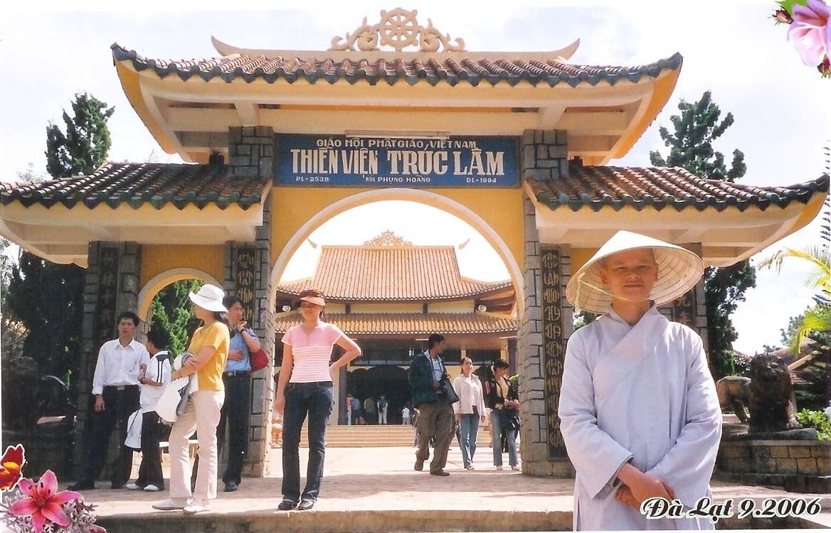 At the gate of Truc Lam Zen Monastery, Bamboo Forest Zen Dalat, Vietnam
