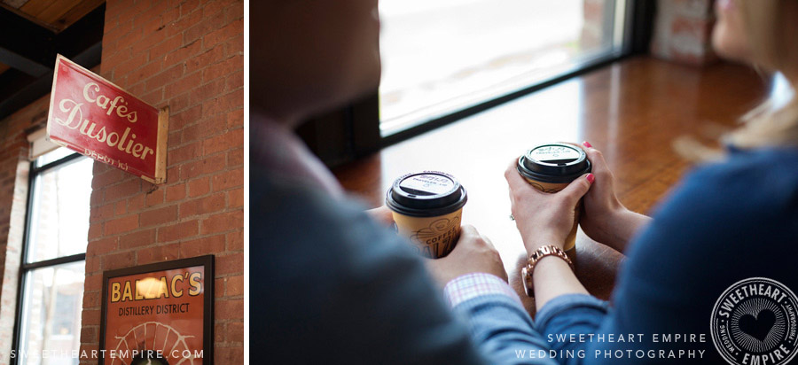 cafe engagement photos