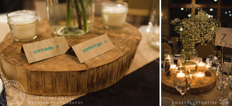 rustic wedding name cards, tree stump centrepieces