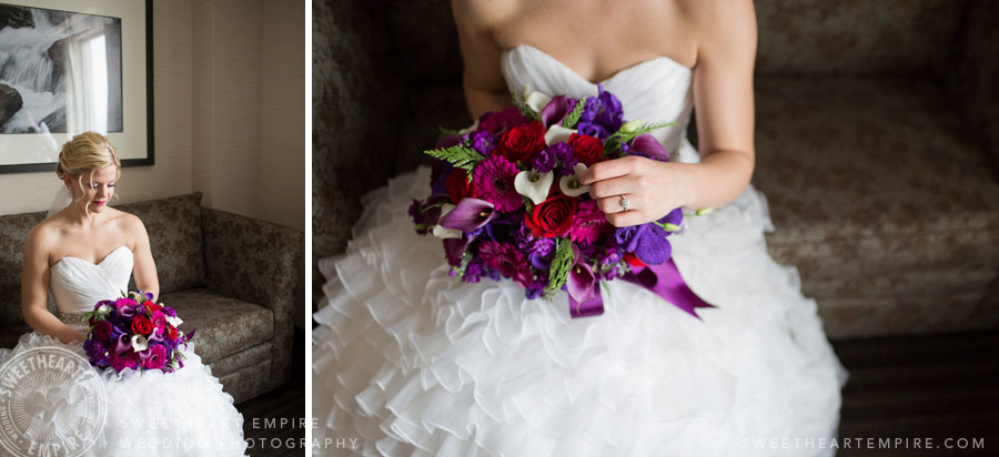 bridal portrait - magenta purple bouquet