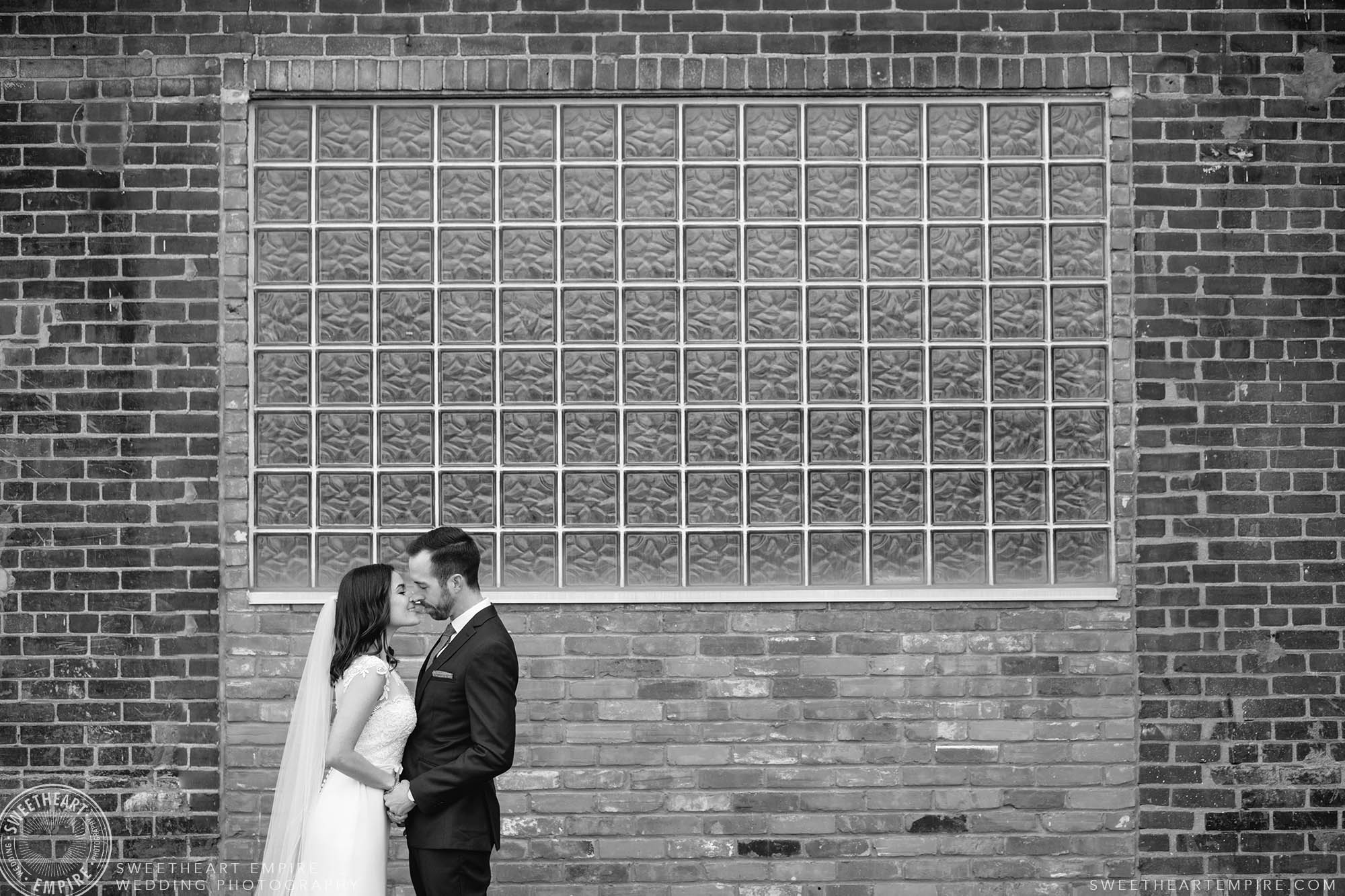Bride and groom about to kiss; District 28 Wedding