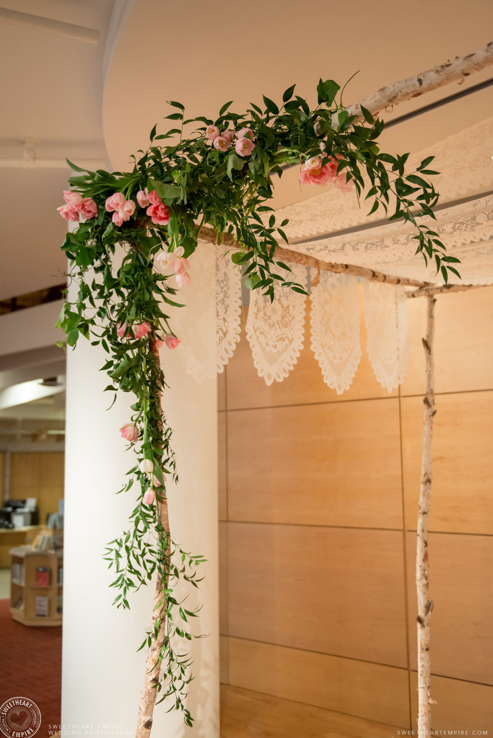 A lace Chuppah; Toronto Reference Library Wedding